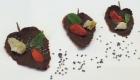 feuilles de mélisse au chocolat et décorees